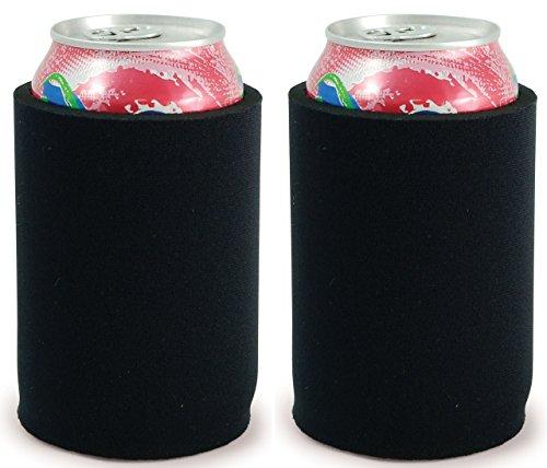 Neoprene Can Holder (Blank Thick Premium Neoprene Full Bottom Can Coolie(s) (2, Black))
