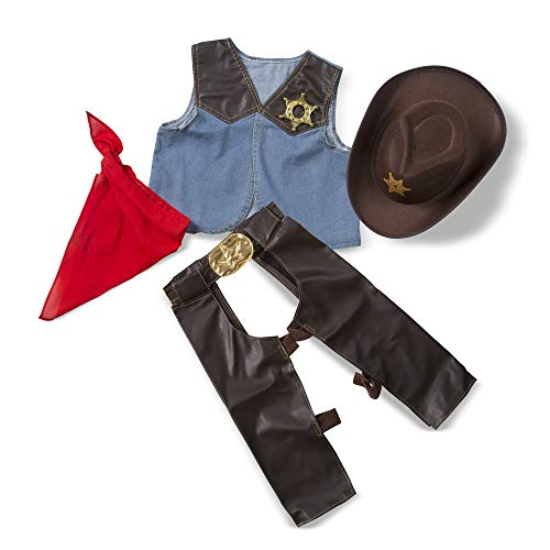 Melissa & Doug Cowboy Role Play Costume Set (5 pcs) - Includes Faux Leather Chaps -