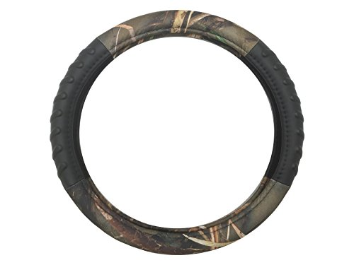 Premium Muddy Water Camouflage Forest Steering Wheel Cover - Extra Comfort Grip Black Vinyl Water Resistant - Hot & Cold Protection for Your Hands