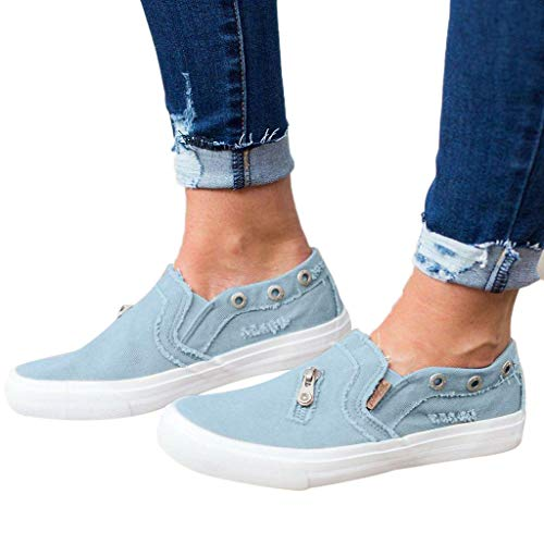 (Women's Preforated Slip On Sneakers Canvas Low Top Sneaker Classic Casual Shoes Loafers Blue)