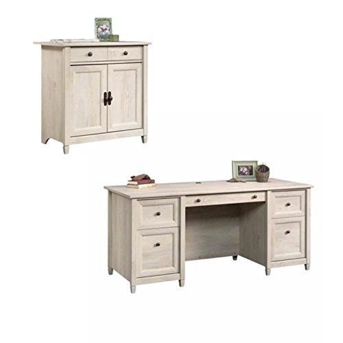 Home Square Rustic 2 Piece Executive Desk and Office Chest in Chalked Chestnut
