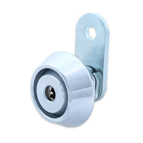 FJM Security C8418B-KD European Style Cam Lock with Stainless Steel Collar Ring and Chrome Finish, Keyed Different by FJM Security