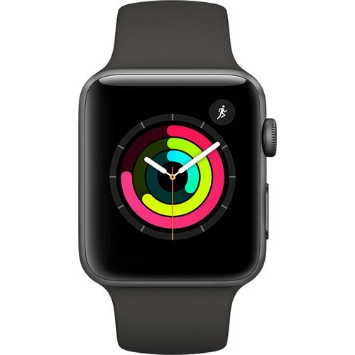 Apple Watch Series 3 42mm Smartwatch (Certified Refurbished) (Space Gray Aluminum Case, Gray Sport Band)