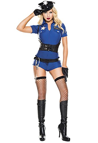 6 Pc Sexy Cop Costumes (6 PC. Ladies Sexy City Cop Romper Costume Set - X-Small - Blue)