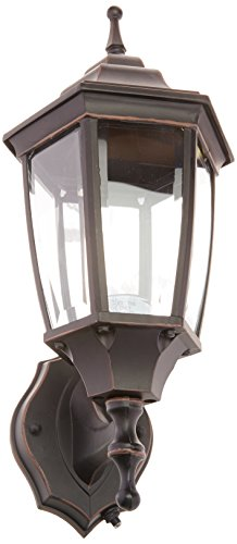 oston Harbor 2123388 Dimmable Outdoor Lantern, (1) 60/13 W Medium A19/CFL Lamp, Rustic Brown