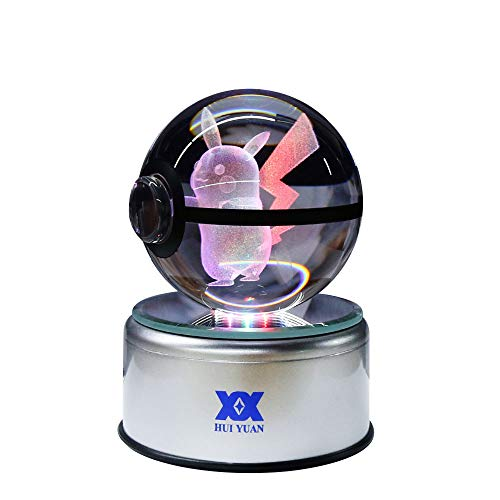 Pokemon Crystal Ball Fancy LED Lighting and Spinning Primary Base Advance 3D Laser Engraving Valentine Children's Gift (Pikachu)
