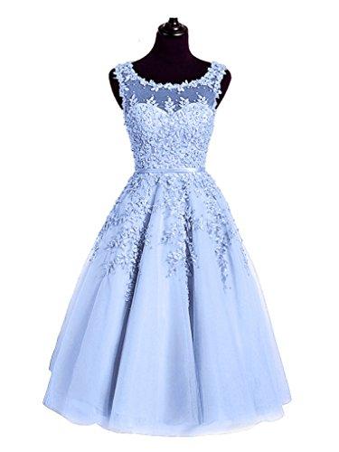 del del Beauty transparente azul O rodilla vestidos Encaje la Emily Sin del celeste Cuello longitud mangas los de coctel de AXqwAZr