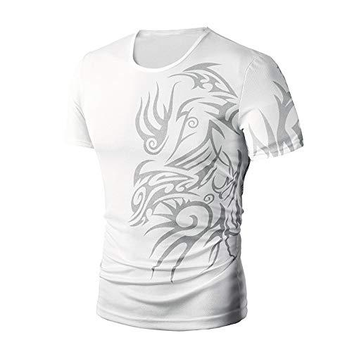 PASATO Men Summer Round Neck Tee Printing Men's Short-Sleeved T-Shirt Top Blouse(White,M=US:S) by PASATO Blouse For Men (Image #1)
