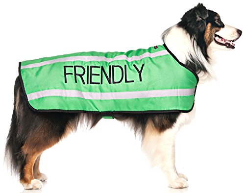 """Dexil Limited FRIENDLY Green Warm Dog Coats S-M M-L L-XL Waterproof Reflective Fleece Lined (Known as Friendly) Prevents Accidents By Warning Others of Your Dog in Advance (M-L Back 17"""" (43cm))"""