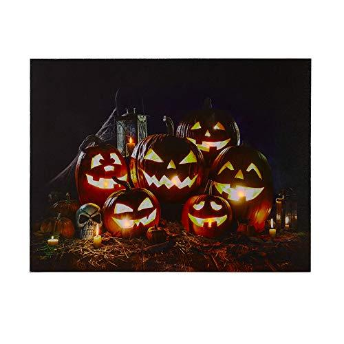 NIKKY HOME LED Lighted Halloween Jack-O-Lantern Fall Harvest Canvas Wall Art ()