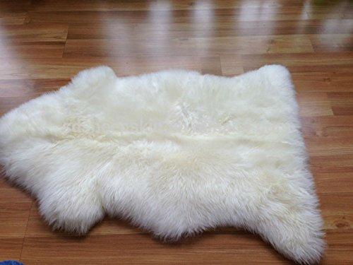 A-STAR Sheepskin Fur Rug Single Pelt 2x3 - Sheep Skin Area Rug  (Ivory (Ivory Leather Match)