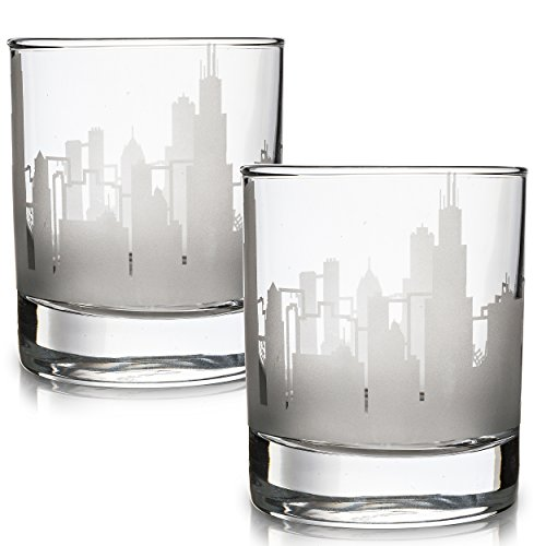 (Etched Old Fashioned Whiskey Glasses - with Gift Box | 2 Skyline Tumblers - Chicago, IL)