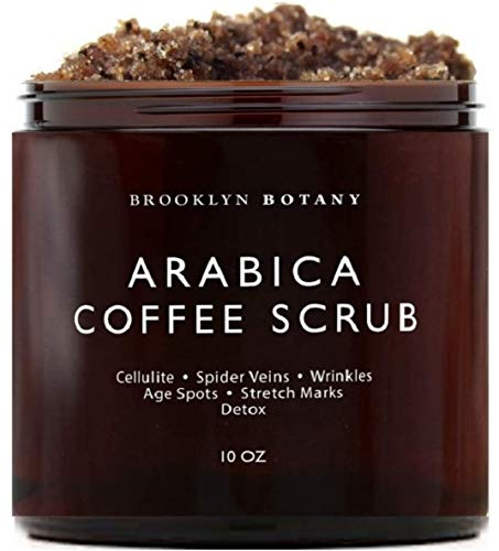 Brooklyn Botany - Arabica Coffee Scrub -100% Natural - with Coconut and Shea Butter - Best Anti Cellulite and Stretch Mark Treatment, Spider Vein Therapy for Varicose Veins & Eczema - 10 oz ()