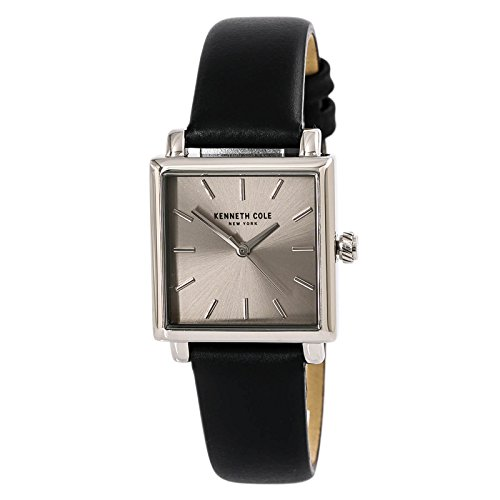 Kenneth Cole New York Women's 'Classic' Quartz Stainless Steel and Leather Dress Watch, Color:Black (Model: 10030821)
