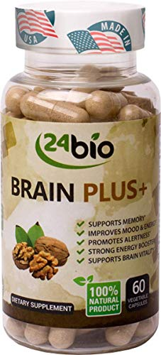 24bio Brain Plus Supplement- Helps with Memory and Focus- Natural Brain Booster, Promotes Concentration & Brain Activity, Mood & Energy-Full of Gingko Biloba, Guarana Seed Extract,DMAE,Rhodiola Rosea