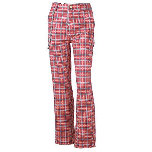 Femmes Avec Chaîne À Pantalon Pour Haute Haute Rouge Taille Décontracté UIqZnwSq