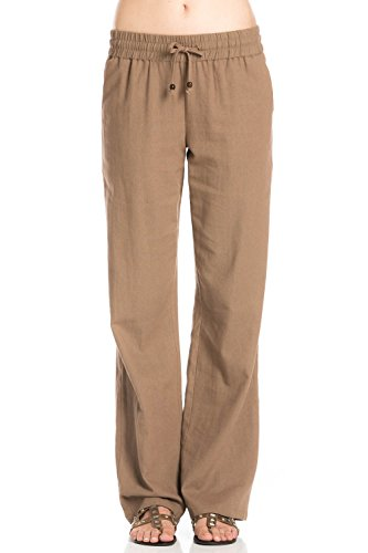 Womens Linen Drawstring Pants - 2