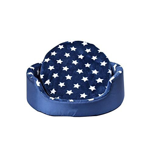 (All Season Pet Dog Bed Detachable Puppy Cat House Star Paw Comfortable Pad Sofa Mat Coral Fleece Bed for Small Medium Large Dogs,Blue Star,S)