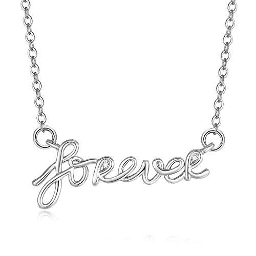Blinkingstare Forever Pendant Necklace for Girls - Hypoallergenic White Gold CZ Choker, for Mom and Wife - Boy Kiss Pendant