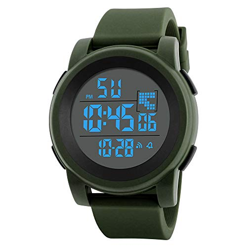 Mp3 Player Quartz Watch - XGUMAOI Fashion Men's Sport Date Wristwatch LED Waterproof Digital Quartz Wrist Watch Military Luxury Watches (Green)