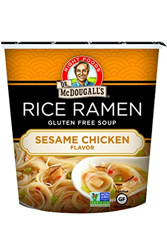 Dr. McDougalls Right Foods Asian Soup Sesame Chicken Rice Noodle, 1.3 Ounce Cups (Pack of 6) Gluten-Free, Non-GMO, No Added Oil, Paper Cups From Certified Sustainably-Managed Forests