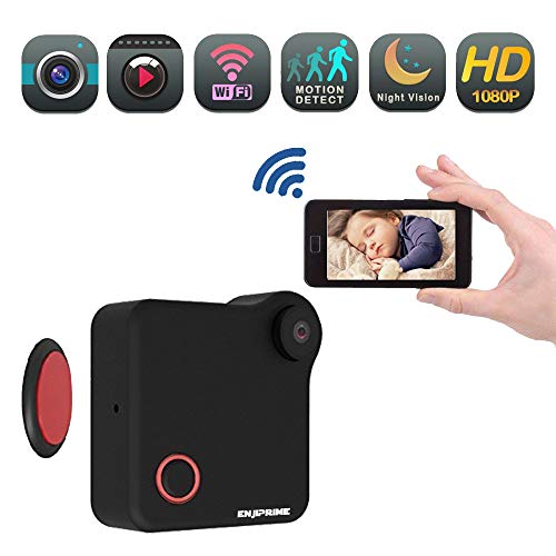 - Mini Wireless WiFi Action Camera - Nanny cop Cam, Small Monitoring System Cameras to Cell Phone, Camaras for Home, Office, Car & Drone with Motion Detection & Night Vision