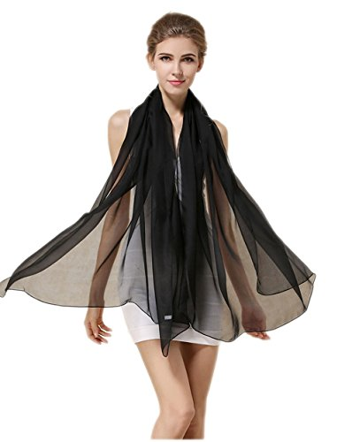 Grace Scarves 100% Silk Scarf, Oblong, Chiffon, Solid Color, Black