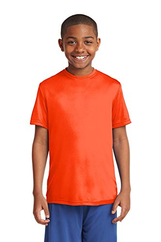 Dri-Wick Youth Sport Performance Moisture Wicking Athletic T-Shirt (X-Small, Neon Orange)