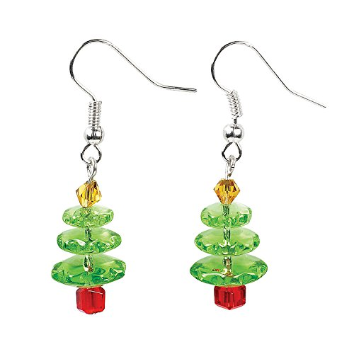 Fun Express - Gls Christmas Tree Earring Kit for Christmas - Craft Kits - Adult Jewelry Craft Kits - Adult Earring - Christmas - 6 Pieces