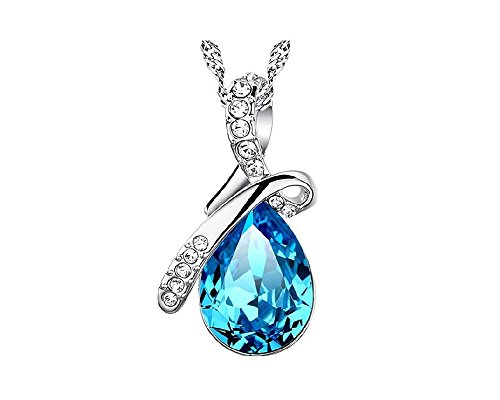 Star Crest Eternal Love Crystal Water-drop Fashion Pendant Necklace with Chain - Crystal Star Drop