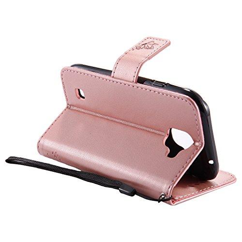 LG Stylus 3Plus Flip Cuero Funda - Alta Calidad Cuero de la PU /Stent/Billetera/Paquete de Tarjetas/Proteccion Caso Cubrir para LG Stylus 3Plus(Rosa) Oro rosa