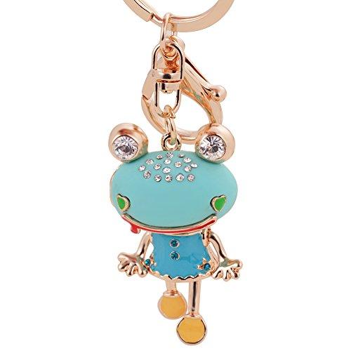 Cute Trinket Rhinestone Car Key Chains Gold Coin Frog Keychain Animal Keyrings Bag Key Fobs New Novelty (New Trinket)