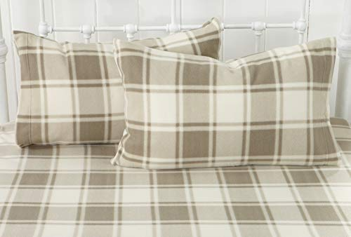 - Great Bay Home Super Soft Extra Plush Plaid Polar Fleece Sheet Set. Cozy, Warm, Durable, Smooth, Breathable Winter Sheets with Plaid Pattern. Dara Collection Brand. (Queen, Taupe)