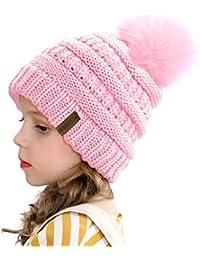 Toddler Kids Girls Boys Winter Warm Knitted Beanie Hats Faux Fur Pom Pom Hat Cap Pink