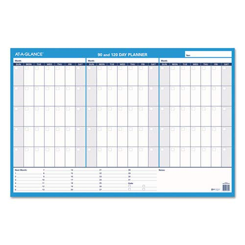 90/120-Day Undated Horizontal Erasable Wall Planner, 36 x 24, White/Blue,, Sold as 1 Each