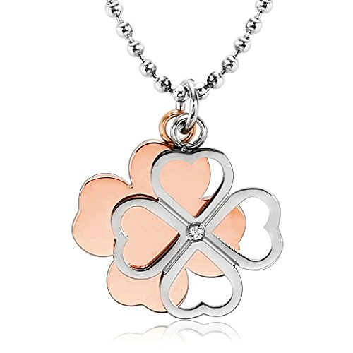 Clovers Cheer Costume (Aooaz Stainless Steel Pendant Necklace for Women, Clover Cross Love Women's Pendant Necklaces Rose Gold)