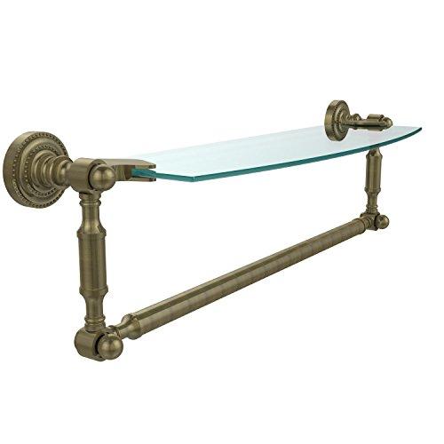 Allied Brass DT-33TB/18-ABR Glass Shelf with Towel Bar, 18-Inch x 5-Inch, Antique Brass by Allied Brass