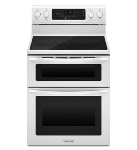 Kitchenaid KERS505XWH 30-Inch, 5-Element Freestanding Double Oven Range with Even-Heat Convection (Kitchenaid Double Oven Parts compare prices)