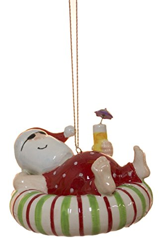 - Cape Shore Santa Relaxing on an Inner Tube Float with a Tropical Drink Ornament
