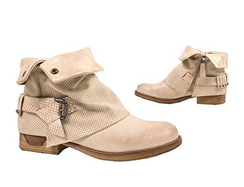 Elara - botas estilo motero Mujer Beige