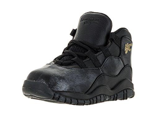 Nike Jordan Toddlers Jordan 10 Retro Bt Black/Black/Drk Grey/Mtllc Gld Basketball Shoe 6 Infants US - Nike Air Jordan Fusion