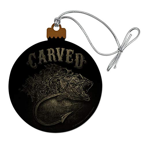 - GRAPHICS & MORE Carved Bass Fish Fishing Hook Wood Christmas Tree Holiday Ornament