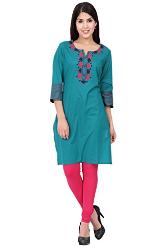 Ethnicity Women's Indian Solid Delicate Embroidery Kurta Tunic; SM; Teal by In-Sattva