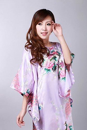 Bigood Robe de Chambre Kimonos Femme Satin Sexy Pyjama Lâche