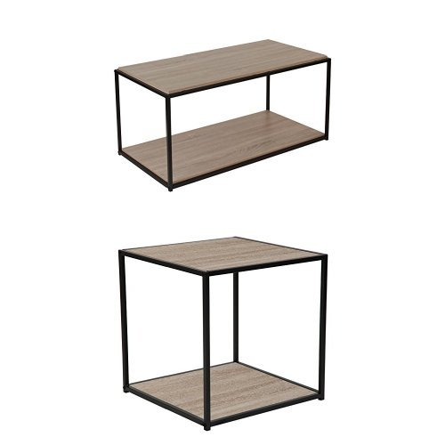 (Flash Furniture Midtown Collection 3 Piece Coffee and End Table Set in Sonoma Oak Wood Grain Finish and Black Metal Frames)