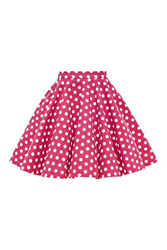 BlackButterfly Kids Vintage 50's Full Circle Girls Swing Skirt (Polka Dot - Pink, 5-6 (Pink Polka Dot Skirt)