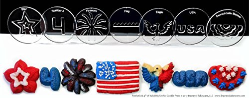 Patriotic & Fourth of July 7 Disk Set for Cookie Presses (SIZE M)See DISK SIZING Image to LEFT of Product Information for appropriate DISK SIZE for your Cookie Press.