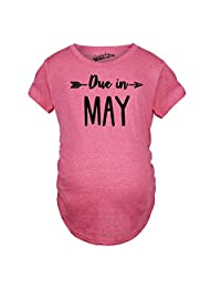 Maternity Due In May Funny T shirts Pregnant Shirts Announce Pregnancy Month Shirt (Pink) M