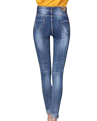 Vintage Femme Fleur Bleu Skinny Jeans en Pantalon Jean Brod OIw1qaTI