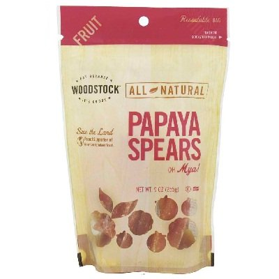 Woodstock Farms All Natural Low Sugar Unsulphur Papaya Spear, 9 Ounce - 8 per case. by Woodstock (Image #1)